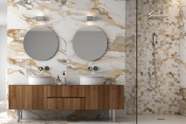 "Fliese gold-beige marmoriert Paonazzetto-Marmor-Optik matt kalibriert ""Crash Beige"""