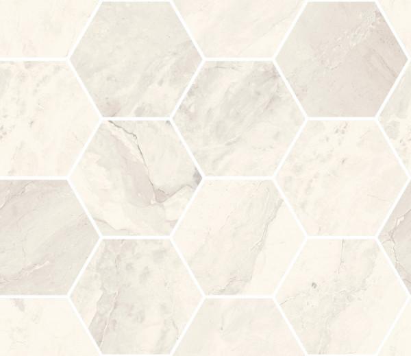 "Mosaik Hexagon Marmor-Optik creme marmoriert glänzend poliert 30x34,5cm ""Mystic Ivory"" Sant Agostino"