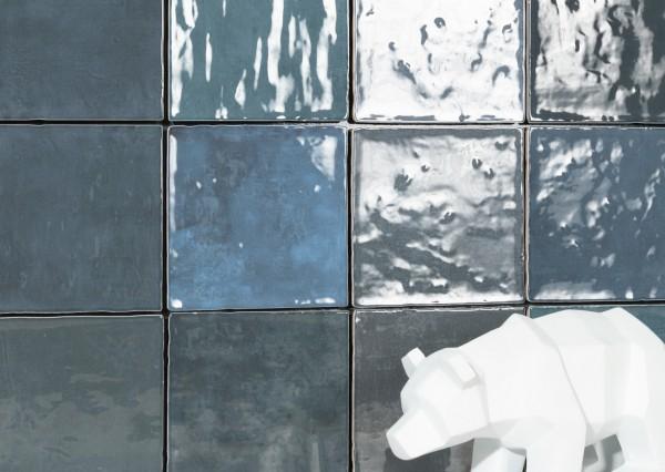 Zellige Wandfliese glasierte Fliese unregelmäßige Kanten dunkelblau glänzend 11,5x11,5cm