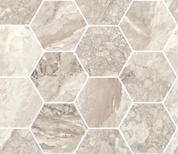 Mosaik Marmor-Optik beige marmoriert glänzend poliert 30x34,5cm Mystic Sant Agostino