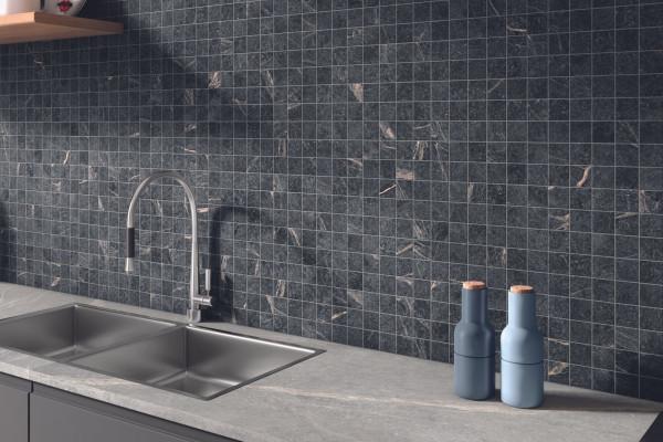 Mosaik Speckstein-Optik schwarz matt Soap Stone Black Cercom