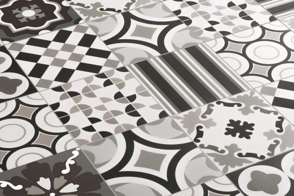"""Dekor-Fliese Patchwork schwarz-weiß Retro Dekor 20x20 """"Patchwork Black&White Mix"""" Sant Agostino"""