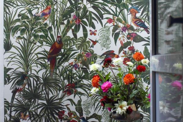Dekorfliese Jungle Vögel Blumen Farn Wandbild Dschungel Wallpaper Pantanal