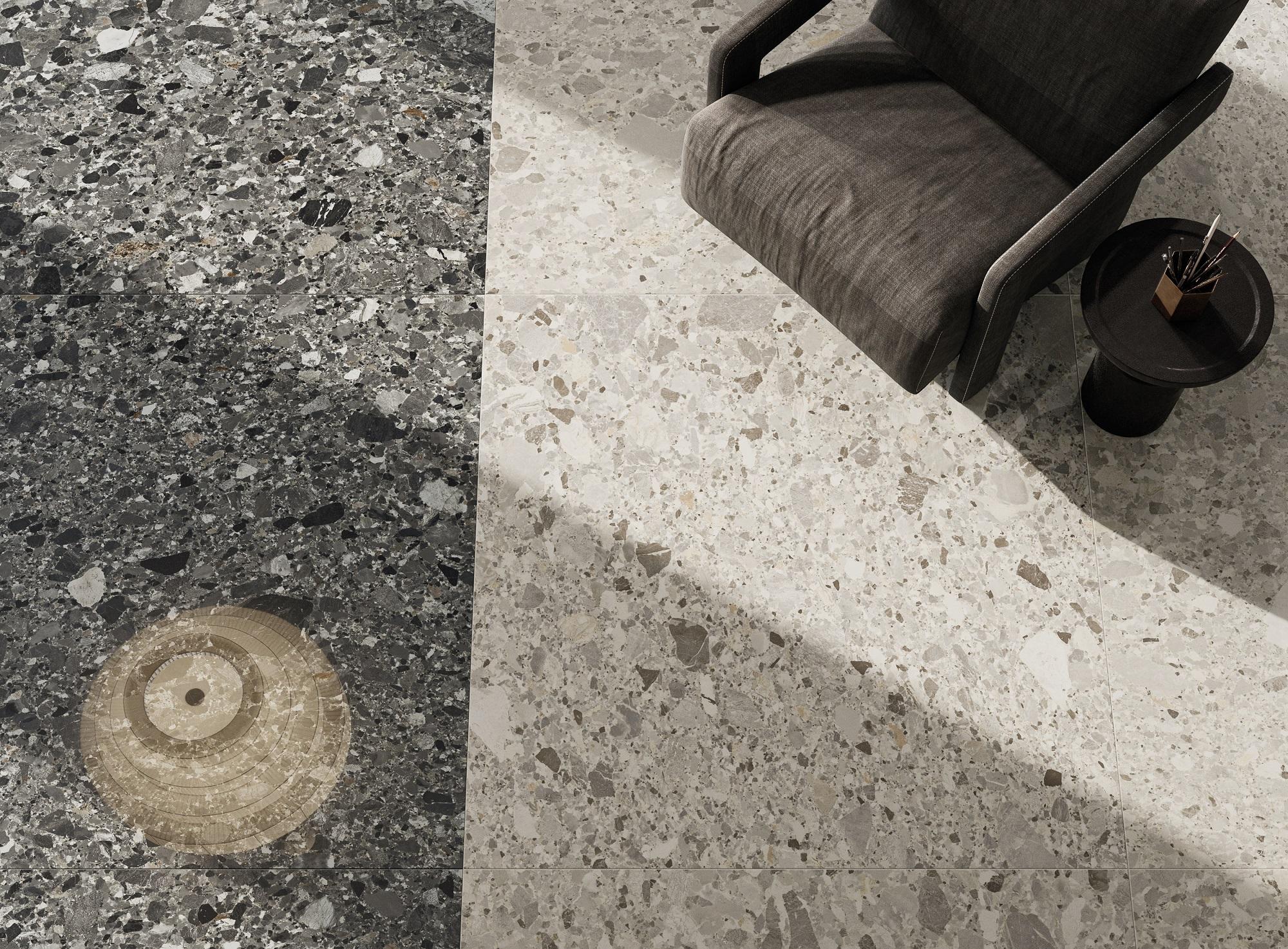 Terrassenplatte Terrassenfliese Terrazzo Stein Optik beige