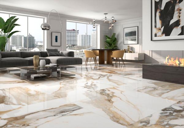 Fliese beige marmoriert Paonazzetto-Marmor-Optik glänzend poliert kalibriert Crash Beige