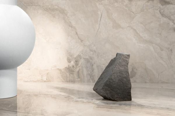 Fliese Marmor-Optik beige marmoriert glänzend Mystic Beige Kristall poliert Sant Agostino