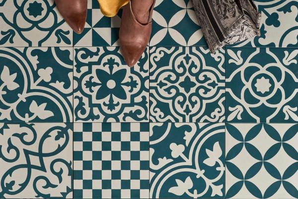 Fliese Patchwork Dekor Zementoptik blau Contrasti Ottanio Decoro Mix Ragno by Marazzi