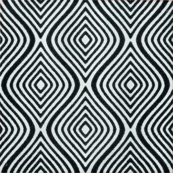 """Fliese Patchwork Retro Dekor gewellt schwarz-weiß 20x20cm """"Key West Dekor Wave Black E"""" CIR"""