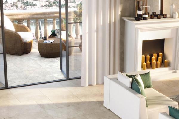 Terrassenplatte Feinsteinzeug Travertin-Steinoptik beige kalibriert Tradition Monocibec
