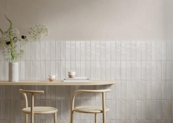 Fliese weiß glasiert unregelmäßige Oberfläche Look Ragno by Marazzi