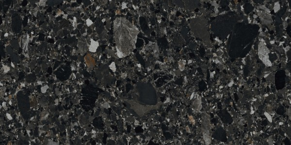 "Terrassenplatte Terrassenfliese Terrazzo-Stein-Optik schwarz 50x100x2cm ""Chiaroscuro Deep"" Monocibec"