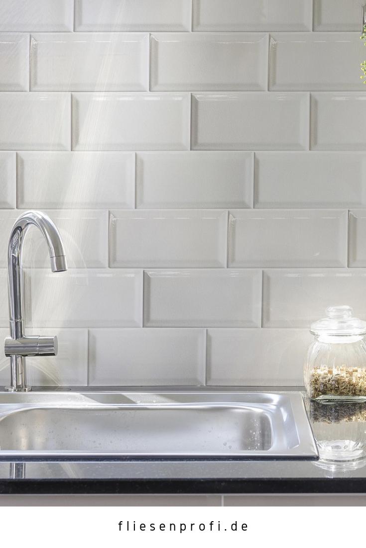 Metro Fliese krakeliert für Küche Bad Craquelé Krakelee weiß glänzend 10x20  Facettenfliese