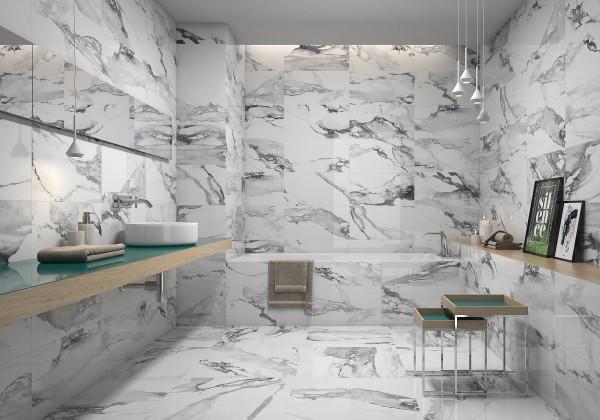 Fliese weiß marmoriert Paonazzetto-Marmor-Optik poliert kalibriert Crash Blanco