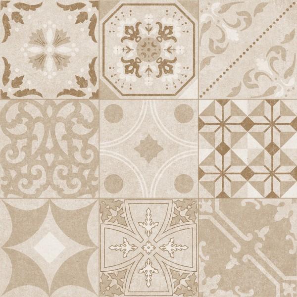 """Zementfliesen -Optik Retro Dekor Patchwork beige 60x60 """"Memories Focus Pearl"""""""