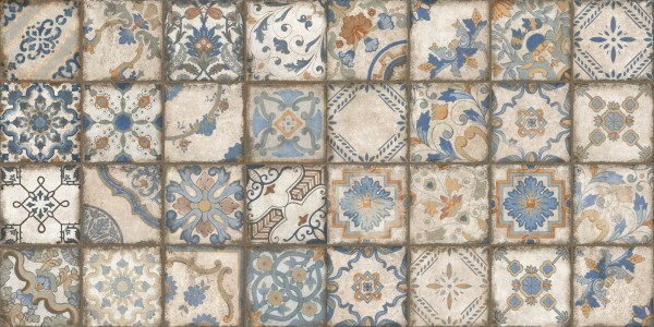 """Dekorfliese Terracotta Einleger Vintage Patchwork """"Chiostro Magnolia Bianca"""""""