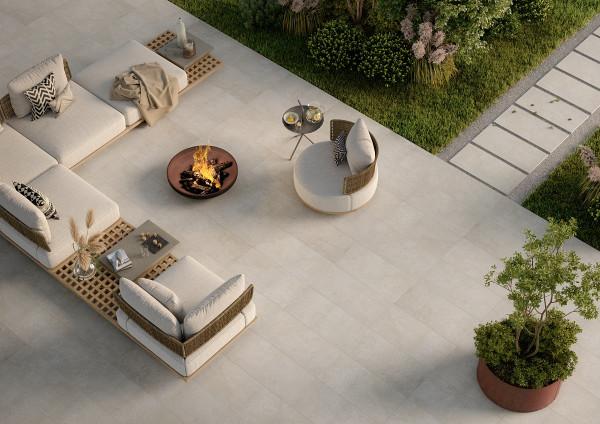 Terrassenplatte 2cm Feinsteinzeug Steinoptik rost beige kalibriert Ever