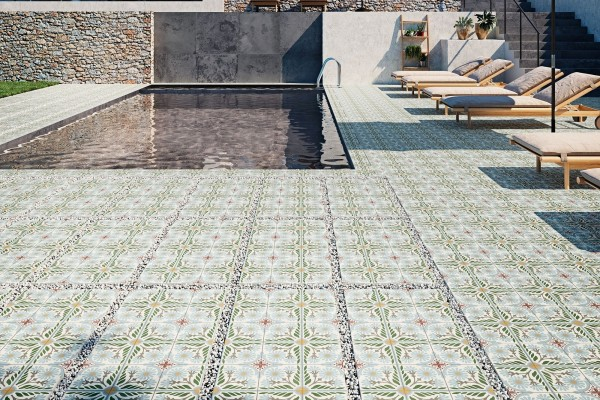 Terrassenplatte Feinsteinzeug Terrassenfliese Patchwork Retro Dekor Olive Altea Olivo Aparici