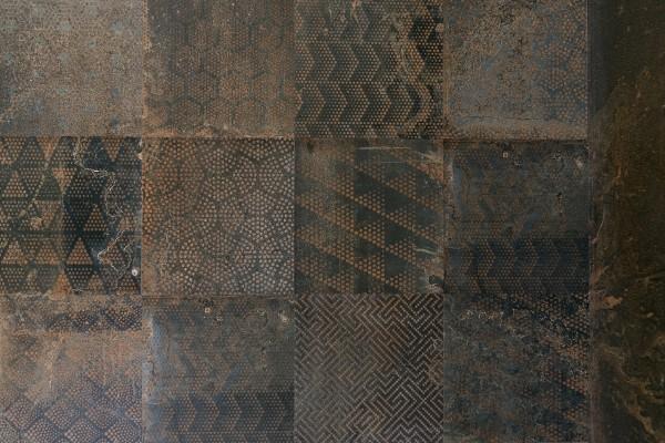 "Dekor-Fliese Metall-Optik Vintage Dekor ""Oxidart Patchwork Sark"" (Optik wie rostendes Eisen) Sant Agostino"
