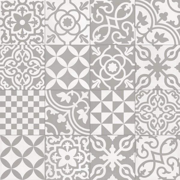 Fliese Patchwork Dekor Zementoptik grau Contrasti Grigio Decoro Mix Ragno by Marazzi