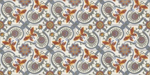 Terrassenplatte Feinsteinzeug Terrassenfliese Patchwork Retro Dekor Schmetterling Altea Elda Aparici