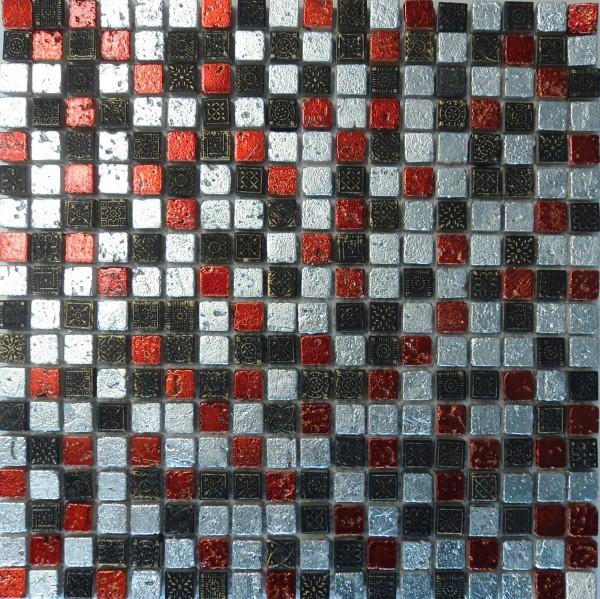 Mosaik FliesenMetall rot silber 30x30 bei Fliesenprofi kaufen