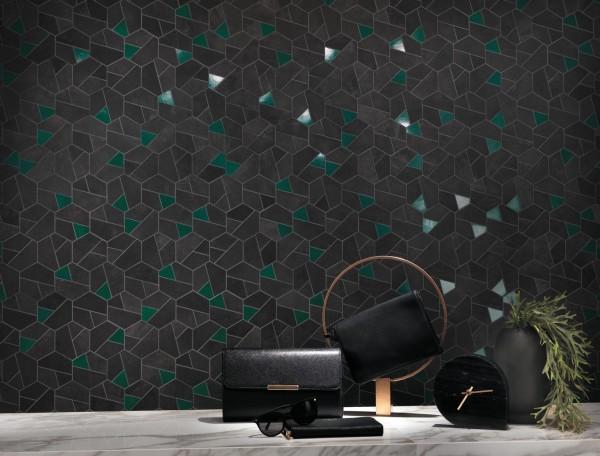 "Mosaik Fliese schwarz-grün ""Boost Tarmac Mosaik Hex Jade 25x28,5cm"" Atlas Concorde"