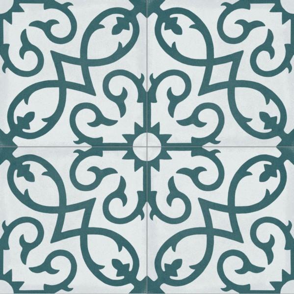 Fliese Patchwork Dekor Zementoptik petrol blau weiß Contrasti Tappeto 12 Ragno by Marazzi-