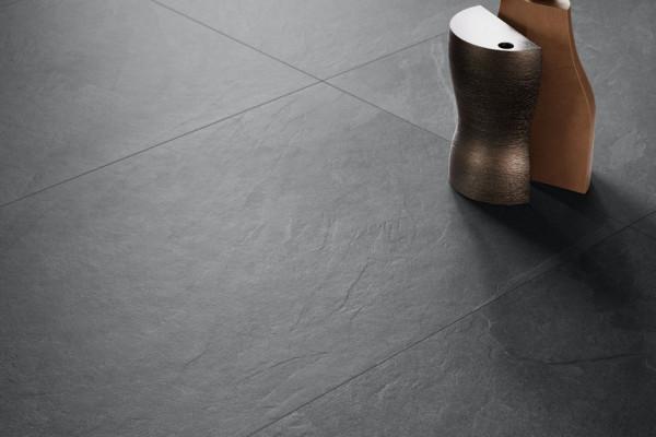 Terrassenplatte Feinsteinzeug Steinoptik Ardesia-Nachbildung schwarz Unionstone Mustang