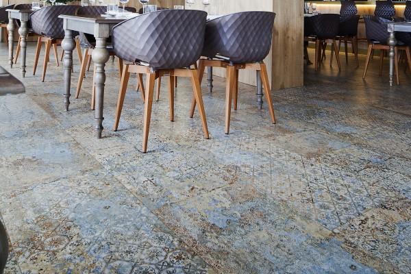"""Fliese Ornamente Vintage Teppichoptik """"Carpet Vestige natural"""" auch bekannt als Caresanablot"""