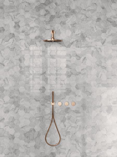 Mosaik Hexagon Marmor-Optik grau marmoriert glänzend poliert Mystic Pearl Sant Agostino