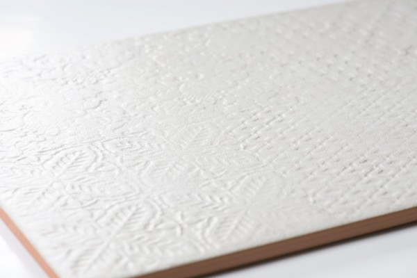 Wandfliese Vintage 3D Dekor weiß-beige Delfos marfil matt 31x60