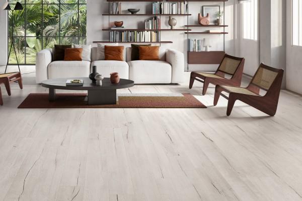 Fliese Schlossdielen Holzoptik Großformat weiß-beige Timewood White Sant Agostino