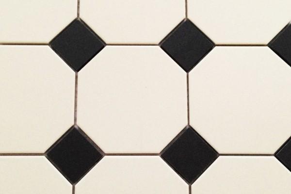 Einleger für Achteck-Fliese schwarz matt 5x5cm glasiertes Feinsteinzeug