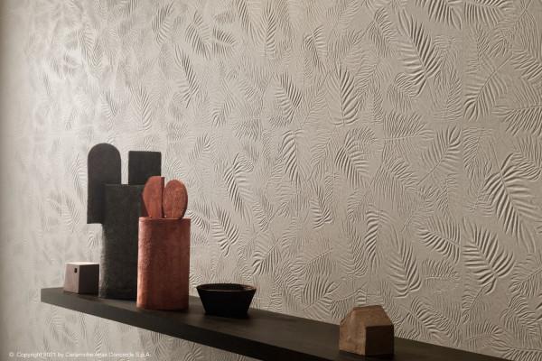 Wandfliese 3D Farn-Dekor weiß-beige matt 3D Wall Carve Leaf Ivory Atlas Concorde