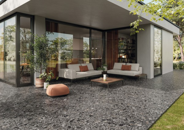 "Terrassenplatte Terrassenfliese Terrazzo-Stein-Optik grau 50x100x2cm ""Chiaroscuro Cliff"" Monocibec"