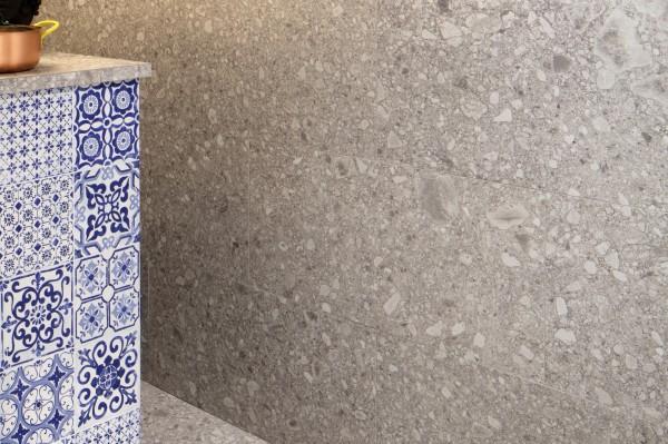 "Fliese Terrazzo Stein-Optik grau matt Retro mediterran 20x20 ""Vita Pietra"" Sant Agostino"