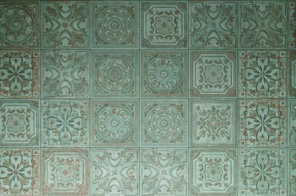 """Wandfliese Antik-Optik Kachelofen-Fliese orientalisch Vintage grün matt 20x20 """"Gatsby Green Tin"""""""