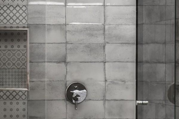 """Wandfliese glasiert gewellt mediterran Retro Vintage grau glänzend 10x20 """"Vita Nebbia"""" Fabresa"""