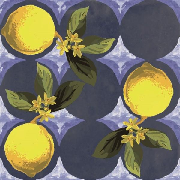 "Fliese Zitronen Retro Dekor blau glänzend mediterran ""Vita Giardino Blu"" Sant Agostino"