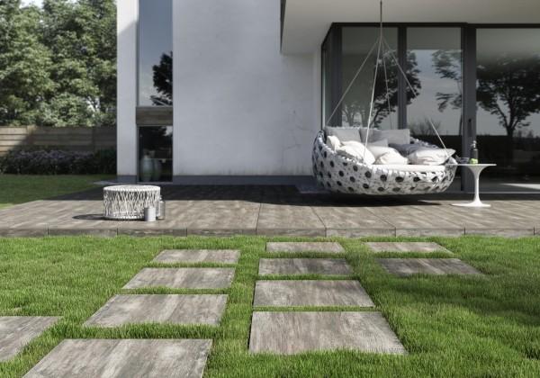 Terrassenplatten Holzoptik braun 60x60x2cm Feinsteinzeug