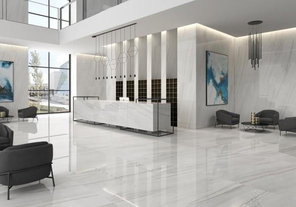 Fliese Marmoroptik weiß marmoriert glänzend rektifiziert Lasa blanco