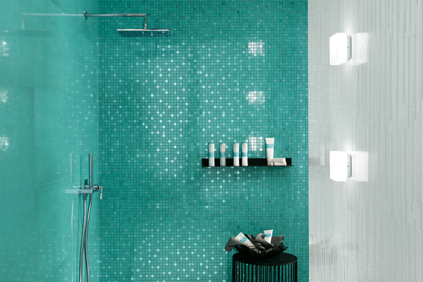 Mosaik Fliese Wand türkis glänzend Dwell Turquoise Mosaik Q Atlas Concorde