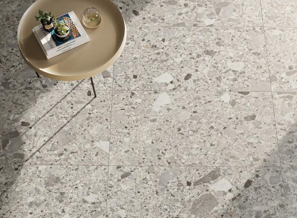 Terrassenplatte Feinsteinzeug Terrassenfliese Terrazzo-Stein-Optik beige Chiaroscuro Salar Monocibec