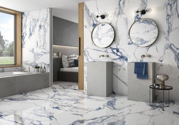 Fliese blau marmoriert Paonazzetto-Marmor-Optik poliert kalibriert Crash Blue