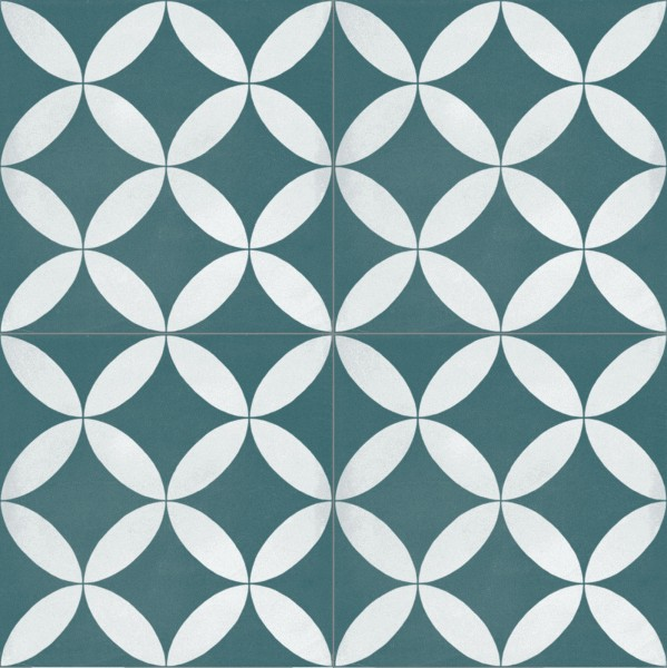 Fliese Patchwork Dekor Zementoptik petrol blau weiß Contrasti Tappeto 13 Ragno by Marazzi-