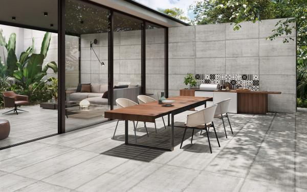 Terrassenplatte 2cm Feinsteinzeug Sichtbetonoptik kalibriert Form Cement Sant Agostino