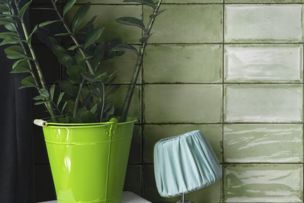 "Wandfliese glasiert gewellt mediterran Retro Vintage grün glänzend 10x20 ""Vita Mela"" Fabresa"
