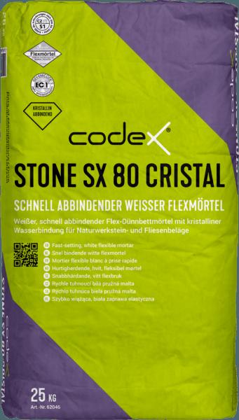 """Fliesenkleber Flexkleber Dünnbettmörtel """"Codex Stone SX 80 Cristal"""" 25 kg weiß schnell"""