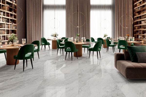 Fliese Marmor-Optik grau marmoriert glänzend Mystic Pearl poliert Sant Agostino