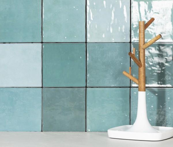 Zellige Wandfliese glasierte Fliese unregelmäßige Kanten türkis glänzend 11,5x11,5cm